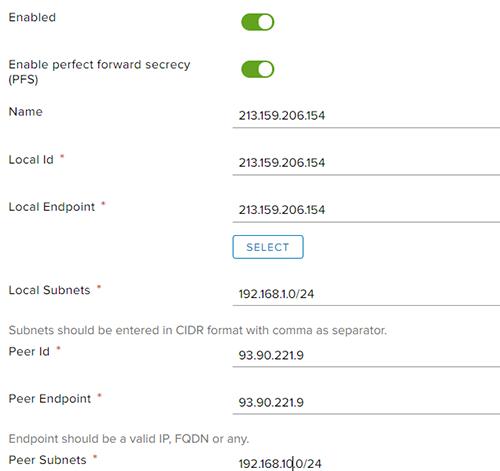 Настройка VPN-туннеля на Edge Gateway